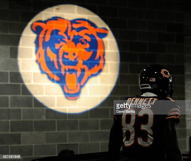 Martellus Bennett of the Chicago Bears walks through the tunnel before the game against the Miami Dolphins on October 19 2014 at Soldier Field in...