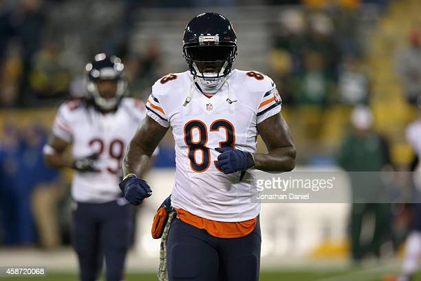 Martellus Bennett of the Chicago Bears warms up prior to the game against the Green Bay Packers at Lambeau Field on November 9 2014 in Green Bay...