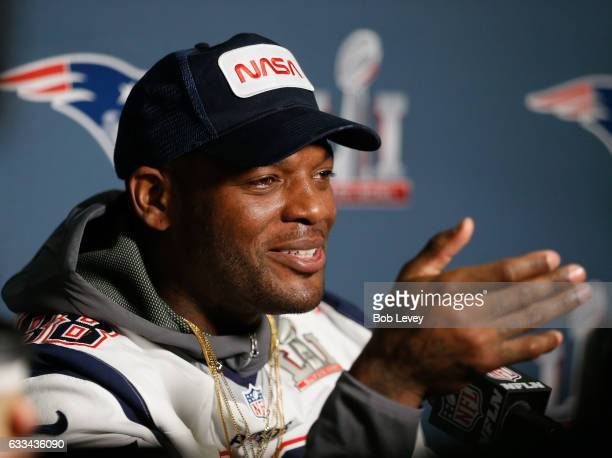 Martellus Bennett of the New England Patriots answers questions during Super Bowl LI media availability at the JW Marriott on February 1 2017 in...