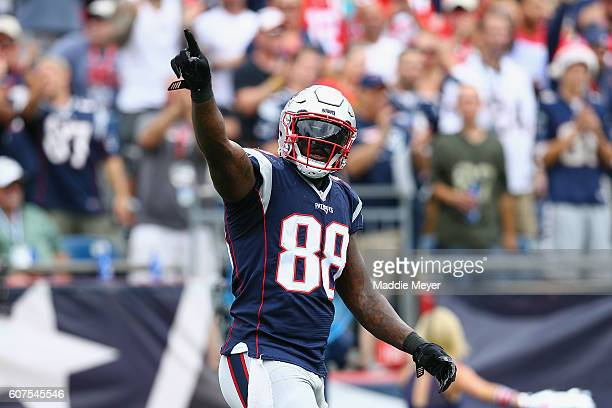 Martellus Bennett of the New England Patriots celebrates scoring a touchdown during the first quarter against the Miami Dolphins at Gillette Stadium...
