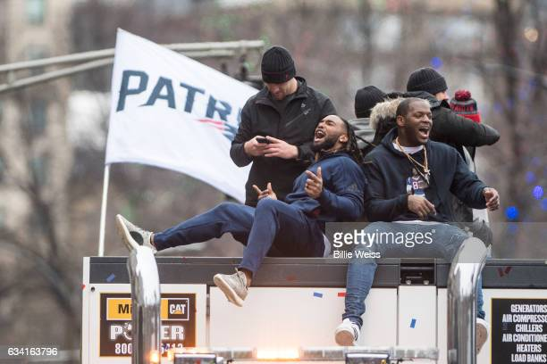 Martellus Bennett of the New England Patriots reacts during the Super Bowl victory parade on February 7 2017 in Boston Massachusetts The Patriots...