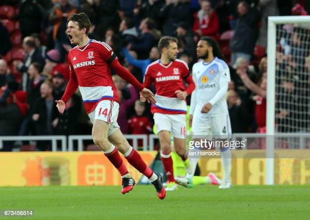 Marten De Roon of Middlebrough celebrates after scoring the opening goal during the Premier League match between Middlesbrough FC and Sunderland AFC...