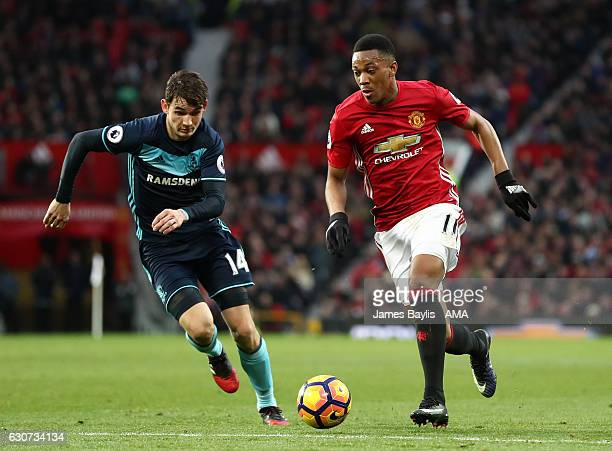 Marten de Roon of Middlesbrough and Anthony Martial of Manchester United during the Premier League match between Manchester United and Middlesbrough...