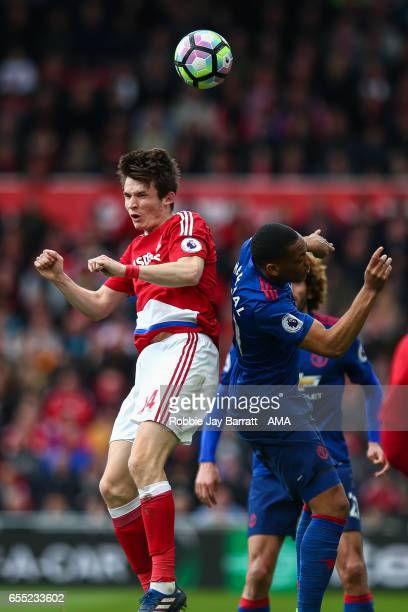 Marten De Roon of Middlesbrough and Anthony Martial of Manchester United during the Premier League match between Middlesbrough and Manchester United...