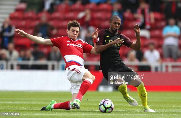 Marten de Roon of Middlesbrough and Fernandinho of Manchester City battle for possession during the Premier League match between Middlesbrough and...