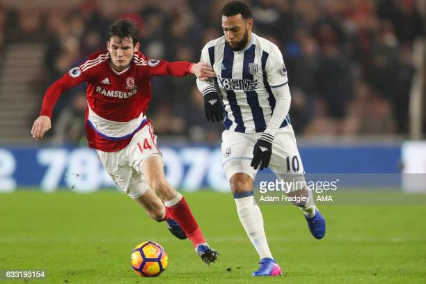 Marten de Roon of Middlesbrough and Matt Phillips of West Bromwich Albion the Premier League match between Middlesbrough and West Bromwich Albion at...