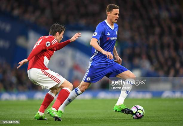 Marten de Roon of Middlesbrough and Nemanja Matic of Chelsea during the Premier League match between Chelsea and Middlesbrough at Stamford Bridge on...