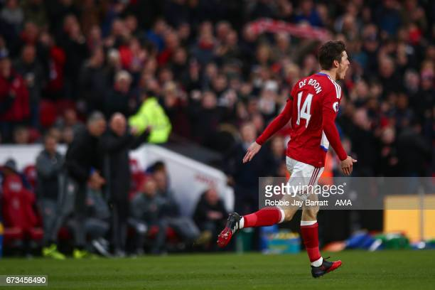 Marten De Roon of Middlesbrough celebrates after scoring a goal to make it 10 during the Premier League match between Middlesbrough and Sunderland at...