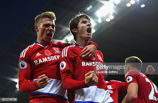 Marten de Roon of Middlesbrough celebrates scoring his sides first goal with Viktor Fischer of Middlesbrough during the Premier League match between...