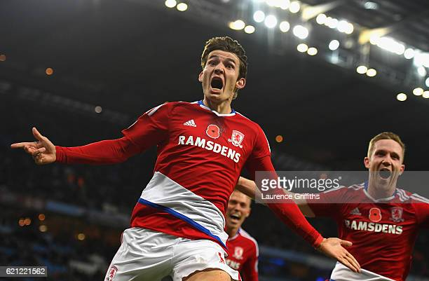 Marten de Roon of Middlesbrough celebrates scoring his sides first goal during the Premier League match between Manchester City and Middlesbrough at...