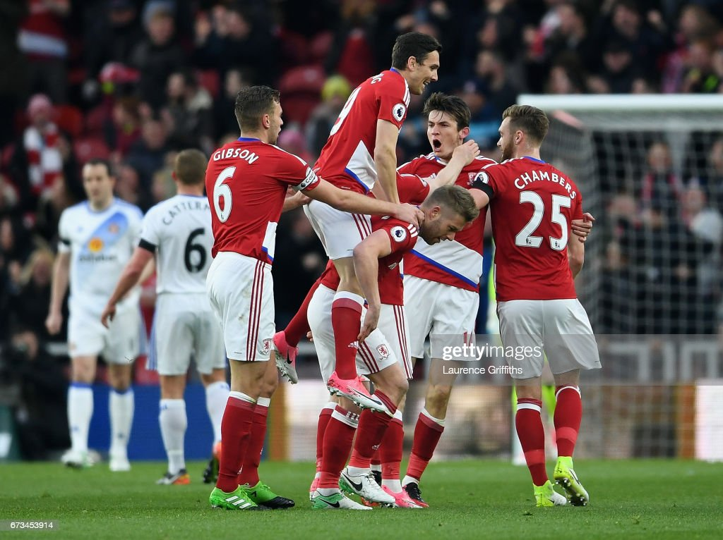 Marten de Roon of Middlesbrough (14) celebrates scoring his sides first goal with team mates during the Premier League match between Middlesbrough and Sunderland at the Riverside Stadium on April 26, 2017 in Middlesbrough, England.