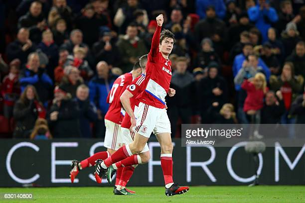 Marten de Roon of Middlesbrough celebrates scoring his sides third goal during the Premier League match between Middlesbrough and Swansea City at...
