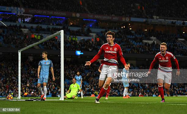 Marten de Roon of Middlesbrough celebrates scoring the equalising goal during the Premier League match between Manchester City and Middlesbrough at...