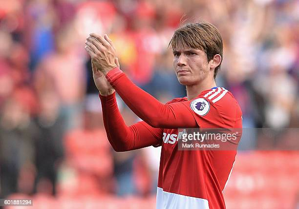 Marten de Roon of Middlesbrough claps the crowd during the Premier League match between Middlesbrough and Crystal Palace at Riverside Stadium on...