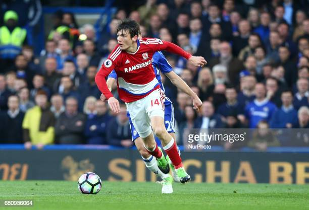 Marten de Roon of Middlesbrough during Premier League match between Chelsea and Middlesbrough at Stamford Bridge London England on 08 May 2017