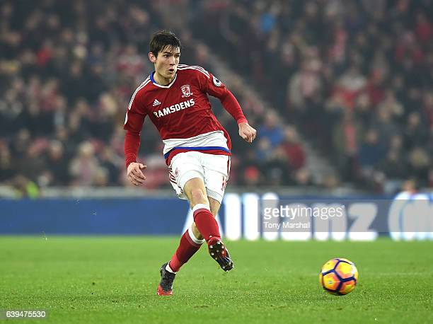 Marten de Roon of Middlesbrough during the Premier League match between Middlesbrough and West Ham United at Riverside Stadium on January 21 2017 in...