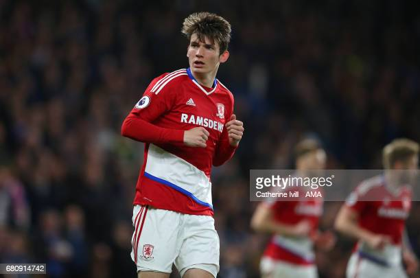 Marten de Roon of Middlesbrough during the Premier League match between Chelsea and Middlesbrough at Stamford Bridge on May 8 2017 in London England