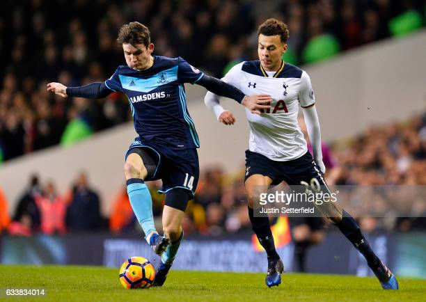 Marten de Roon of Middlesbrough FC and Dele Alli of Tottenham Hotspur during the Premier League match between Tottenham Hotspur and Middlesbrough at...