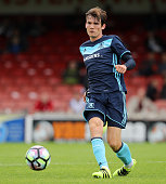 Marten de Roon of Middlesbrough passes the ball during the pre season friendly match between York City and Middlesbrough at Bootham Crescent on July...