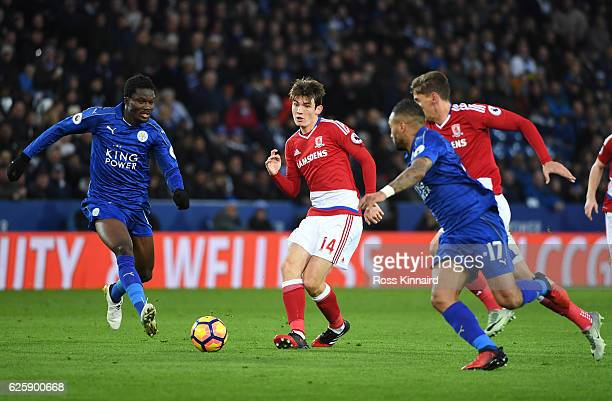 Marten de Roon of Middlesbrough passes the ball during the Premier League match between Leicester City and Middlesbrough at The King Power Stadium on...