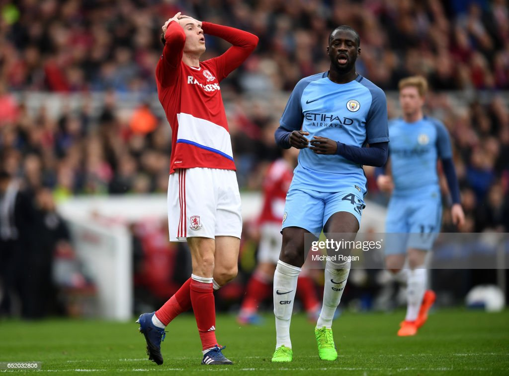 Marten de Roon of Middlesbrough reacts during The Emirates FA Cup Quarter-Final match between Middlesbrough and Manchester City at Riverside Stadium on March 11, 2017 in Middlesbrough, England.