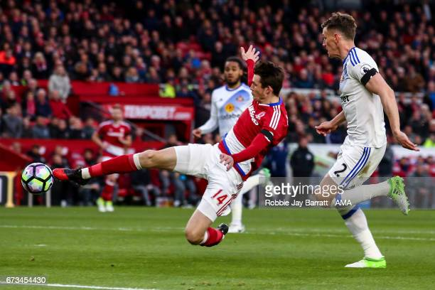 Marten De Roon of Middlesbrough scores a goal to make it 10 during the Premier League match between Middlesbrough and Sunderland at Riverside Stadium...
