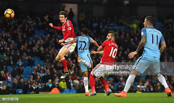 Marten de Roon of Middlesbrough scores his sides first goal during the Premier League match between Manchester City and Middlesbrough at Etihad...
