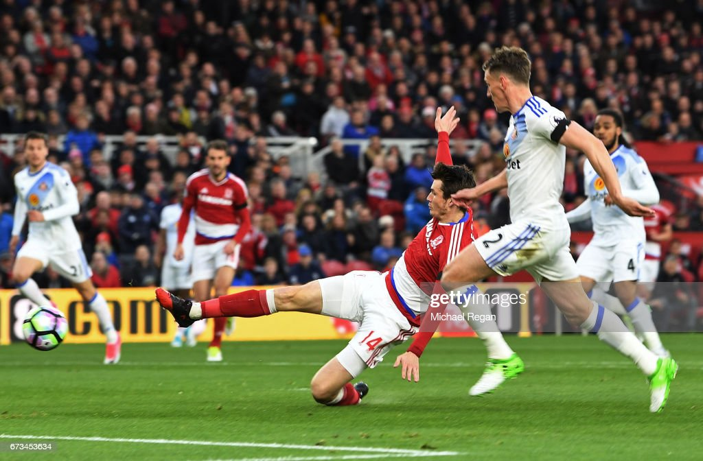 Marten de Roon of Middlesbrough scores his sides first goal during the Premier League match between Middlesbrough and Sunderland at the Riverside Stadium on April 26, 2017 in Middlesbrough, England.