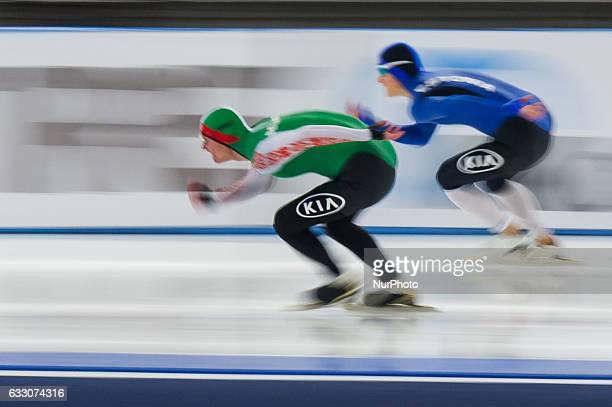 Marten Liiv Ignat Golovatsiuk during the ISU World Cup Speed Skating Day 3 at the Sportforum Berlin Stadium on January 29 2017 in Berlin Germany