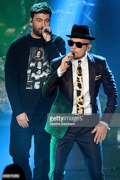 Marteria and Jan Delay perform during the 1Live Krone 2014 at Jahrhunderthalle on December 4 2014 in Bochum Germany