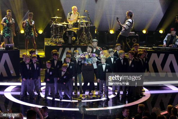 Marteria and Miss Platnum perform at the Echo Award 2014 show on March 27 2014 in Berlin Germany
