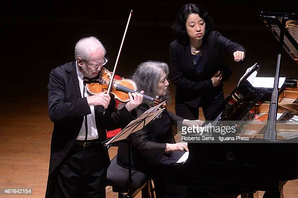Martha Argerich and Gidon Kremer perform at the Bologna Festival on March 26 2015 in Bologna Italy