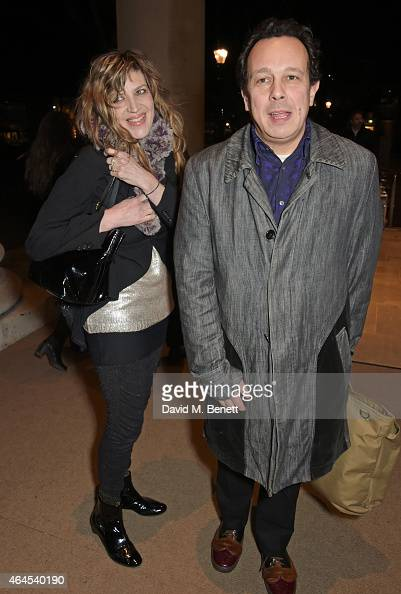 Martha Fiennes and Detmar Blow attend a private view of ''Le Tarbouche' by artist Mouna Rebeiz at the Saatchi Gallery on February 26 2015 in London...