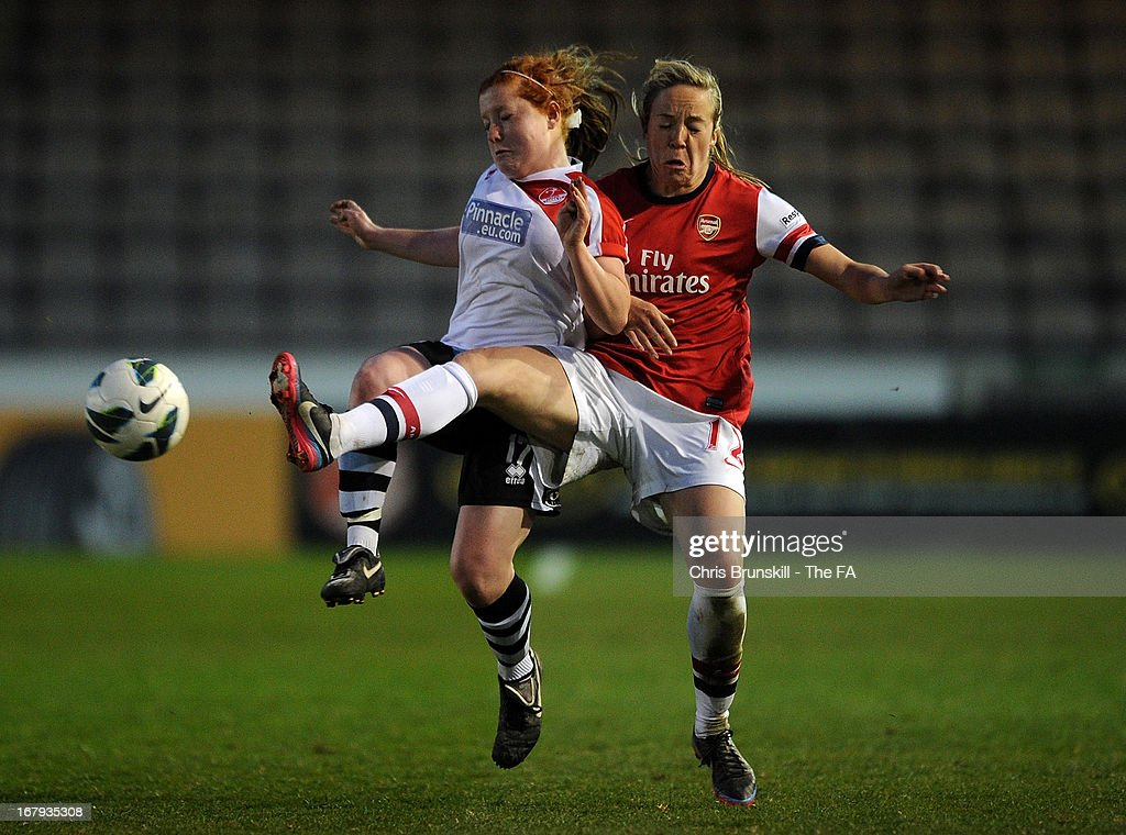 Martha Harris (L) of Lincoln Ladies in action with Gemma Davison of Arsenal Ladies during the The FA WSL Continental Cup match between Lincoln Ladies and Arsenal Ladies at Sincil Bank Stadium on May 2, 2013 in Lincoln, England.