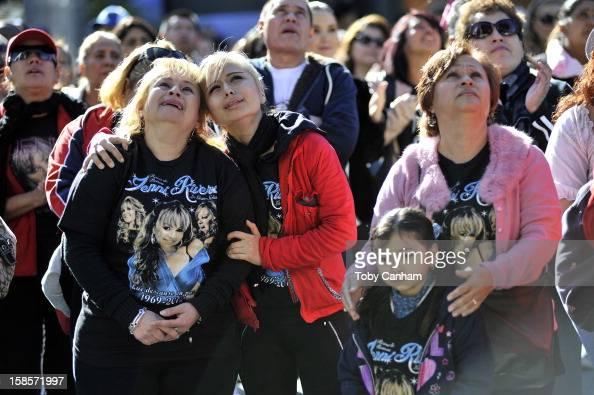 Martha Hernandez Jenny Herrera Solidar Hernandez and Betsy Hernandez attend singer Jenni Rivera's memorial ceremony held at Gibson Amphitheatre on...