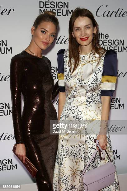 Martha Hunt and Roksanda Ilini attends the private view of the 'Cartier In Motion' exhibition curated by Norman Foster at The Design Museum on May...