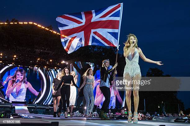 Martha Hunt Kendall Jenner Karlie Kloss Gigi Hadid Cara Delevingne and Taylor Swift perform onstage during The 1989 World Tour at Hyde Park on June...