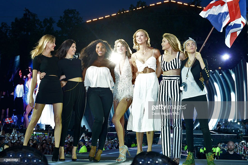 Martha Hunt Kendall Jenner Serena Williams Taylor Swift Karlie Kloss Gigi Hadid and Cara Delevingne perform onstage during The 1989 World Tour at...