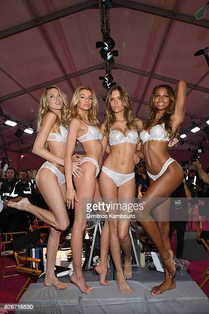 Martha Hunt Stella MaxwellJosephine Skriver and Jasmine Tookes pose prior the 2016 Victoria's Secret Fashion Show on November 30 2016 in Paris France