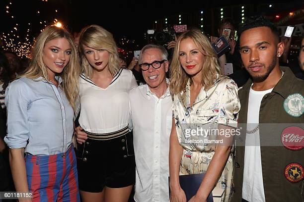 Martha Hunt Taylor Swift Tommy Hilfiger Dee Hilfigerand Lewis Hamilton attend the #TOMMYNOW Women's Fashion Show during New York Fashion Week at Pier...