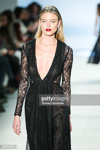 Martha Hunt walks the runway wearing Cushnie et Ochs Fall 2016 at Skylight at Clarkson Sq on February 12 2016 in New York City
