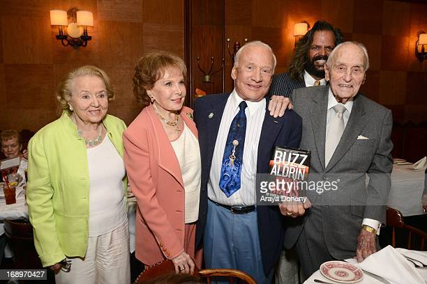 Martha Lyles Rhonda Fleming Buzz Aldrin and AC Lyles attend A C Lyles Birthday Party at Musso Frank on May 17 2013 in Hollywood California