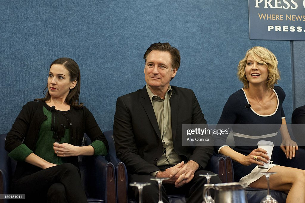 Martha Maclsaac, Bill Pullman and Jenna Elfman speak during the National Press Club Presents: In Discussion With The Cast Pf '1600 Penn' at The National Press Club on January 9, 2013 in Washington, DC.