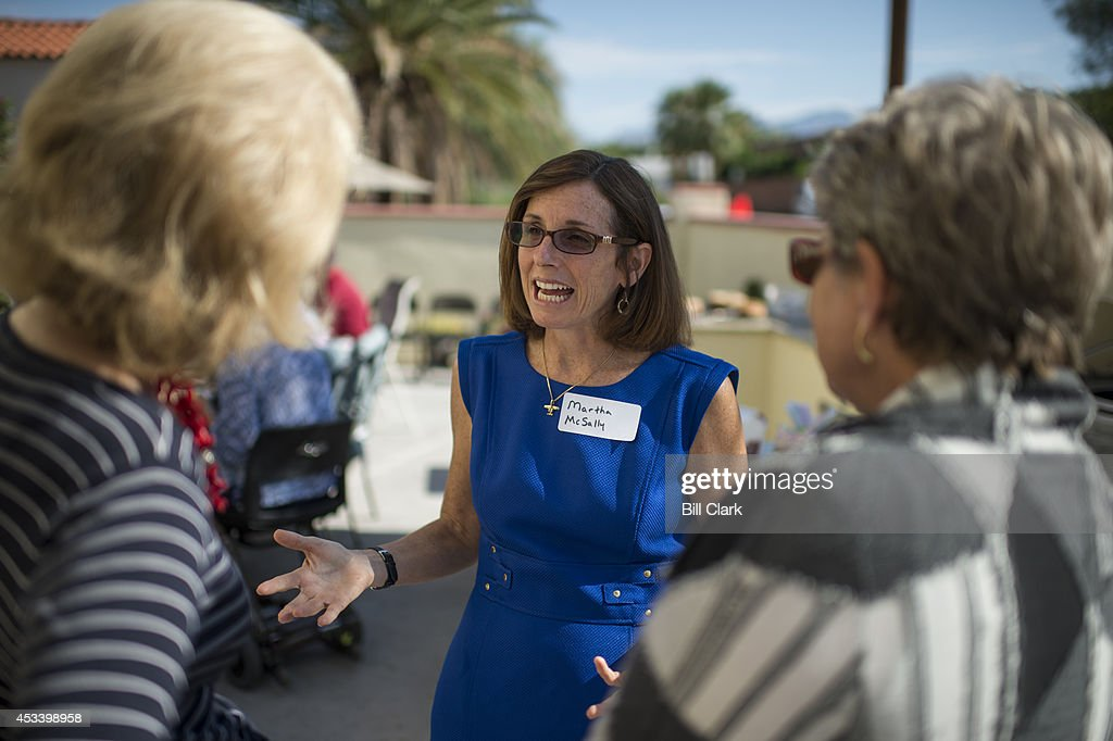 Martha McSally, Republican candidate running against Rep. Ron Barber in Arizona's 2nd Congressional district, speaks with supporters at a breakfast in Tucson, Ariz., on Saturday, Aug. 9, 2014.