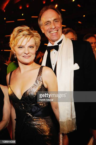 Martha Plimpton and Keith Carradine pose backstage during the 62nd Annual Tony Awards at Radio City Music Hall on June 15 2008 in New York City