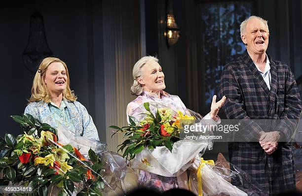 Martha Plimpton Glenn Close and John Lithgow sing 'Happy Trails' in honor of Mike Nichols during curtain call for the Broadway opening of 'A Delicate...