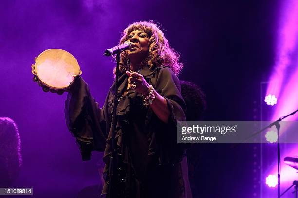 Martha Reeves of Martha Reeves The Vandellas performs on stage during Bingley Music Festival at Myrtle Park on August 31 2012 in Bingley United...