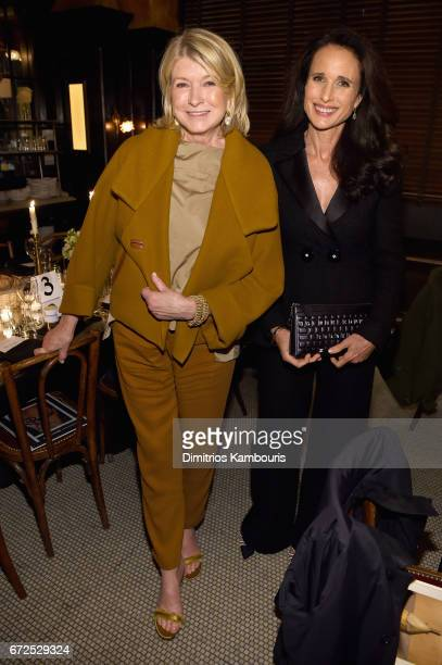 Martha Stewart and Andie MacDowell attend the CHANEL Tribeca Film Festival Artists Dinner at Balthazar on April 24 2017 in New York City