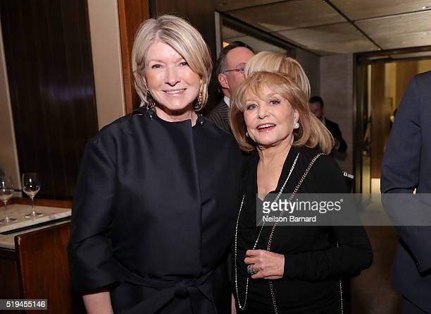 Martha Stewart and Barbara Walters attend The Hollywood Reporter's 5th Annual 35 Most Powerful People in New York Media on April 6 2016 in New York...