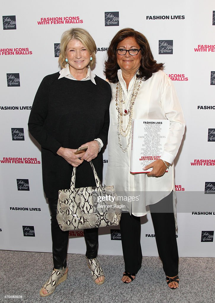 Martha Stewart and Fern Mallis pose for a picture during Fashion Lives Book Launch at Saks Fifth Avenue on April 20, 2015 in New York City.